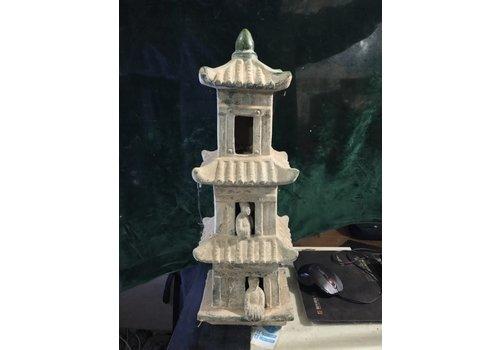 Fine Asianliving Pagoda Aardewerk Groen Blauw 18x15x52cm