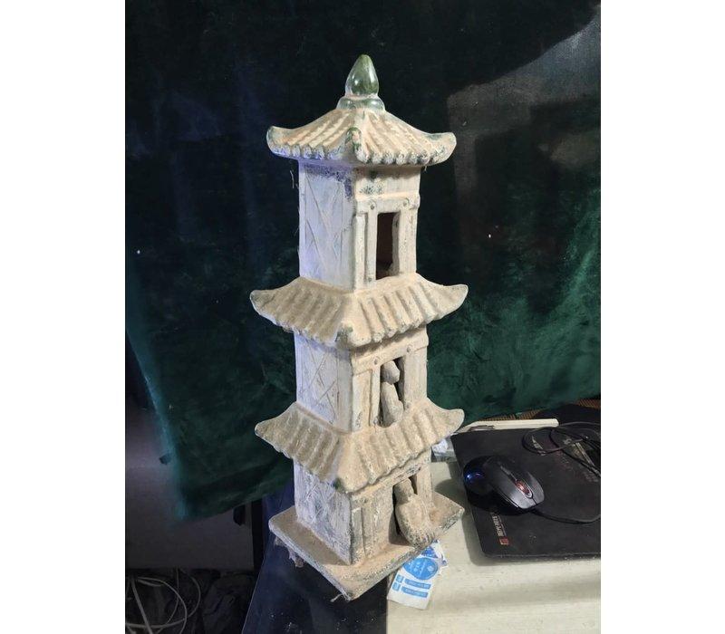 Pagoda Aardewerk Groen Blauw 18x15x52cm