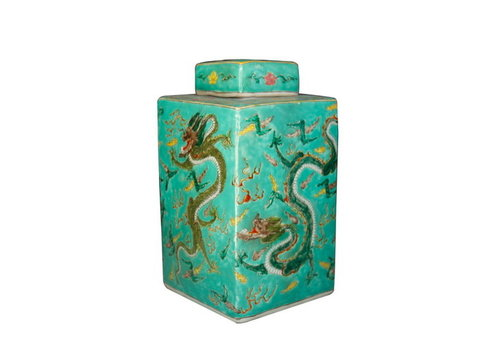 Fine Asianliving Chinese Ginger Jar Handpainted Dragon Porcelain Green W18xD18xH34cm