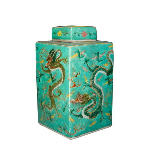 Chinese Ginger Jar Handpainted Dragon Porcelain Green W18xD18xH34cm