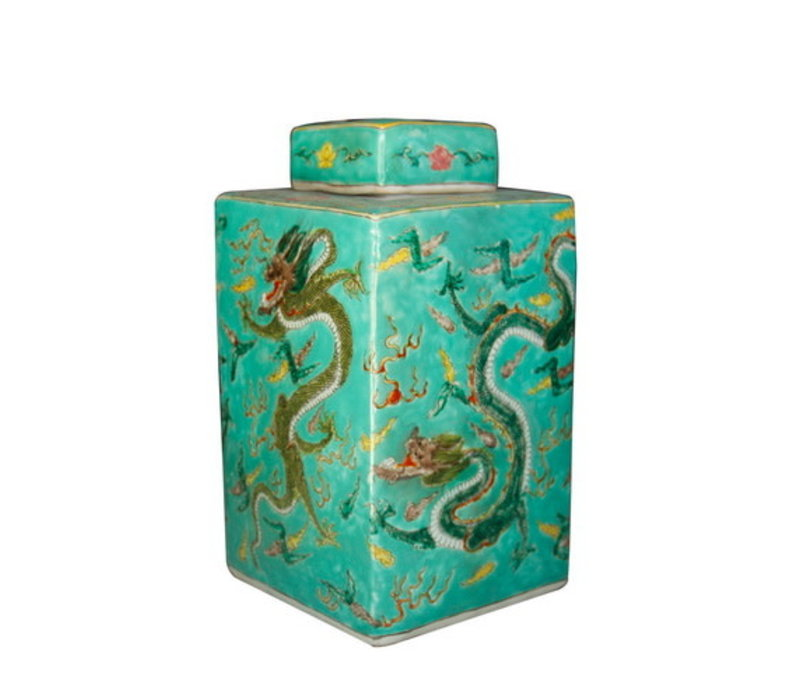 Chinese Gemberpot Handbeschilderd Porselein Draak Groen 18x18x34cm