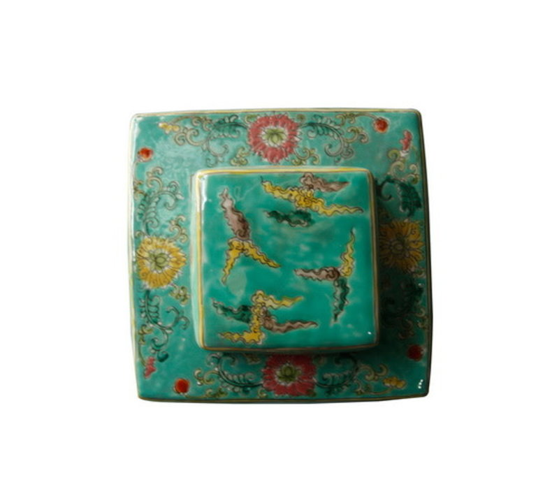 Chinese Gemberpot Handgeschilderd Porselein Draak Groen 18x18x34cm