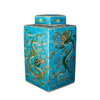 Chinese Gemberpot Handbeschilderd Porselein Draak Blauw 18x18x34cm