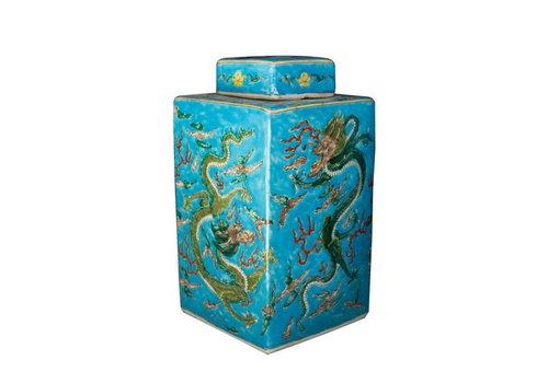 Fine Asianliving Pot à Gingembre Chinois Peint à la Main Dragon Bleu L18xP18xH34cm