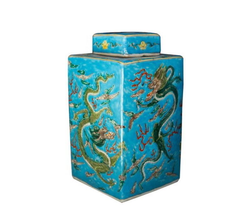 Chinesischer Ingwertopf Porzellan Handbemalt Drachen Blau B18xT18xH34cm