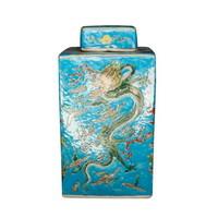 Vaso Ginger Jar Cinese in Porcellana Drago Dipinto a Mano Blu L18xP18xA34cm