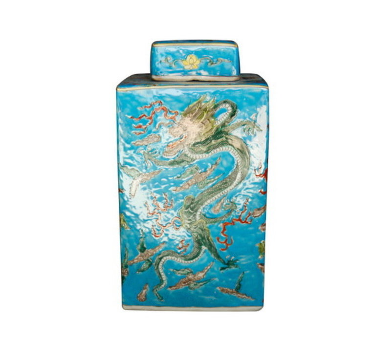 Chinese Ginger Jar Hand-painted Dragon Porcelain Blue W18xD18xH34cm