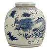 Fine Asianliving Chinese Gemberpot Blauw Wit Porselein Draak 27x27x28cm