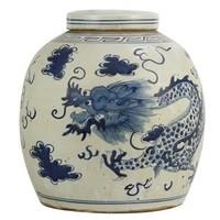 Chinese Gemberpot Blauw Wit Porselein Draak 27x27x28cm