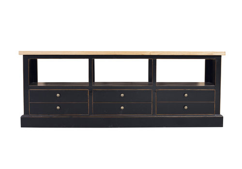 Fine Asianliving Chinese TV Stand Bench with Drawers Contemporary Black