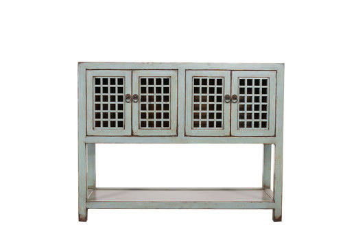 Fine Asianliving Chinesischer Konsolentisch Beistelltisch Antik-Look Grau