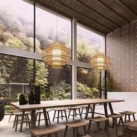 Fine Asianliving Plafoniera Lampada A Sospensione Bambù Paralume Fatto A Mano - Lena D50cm