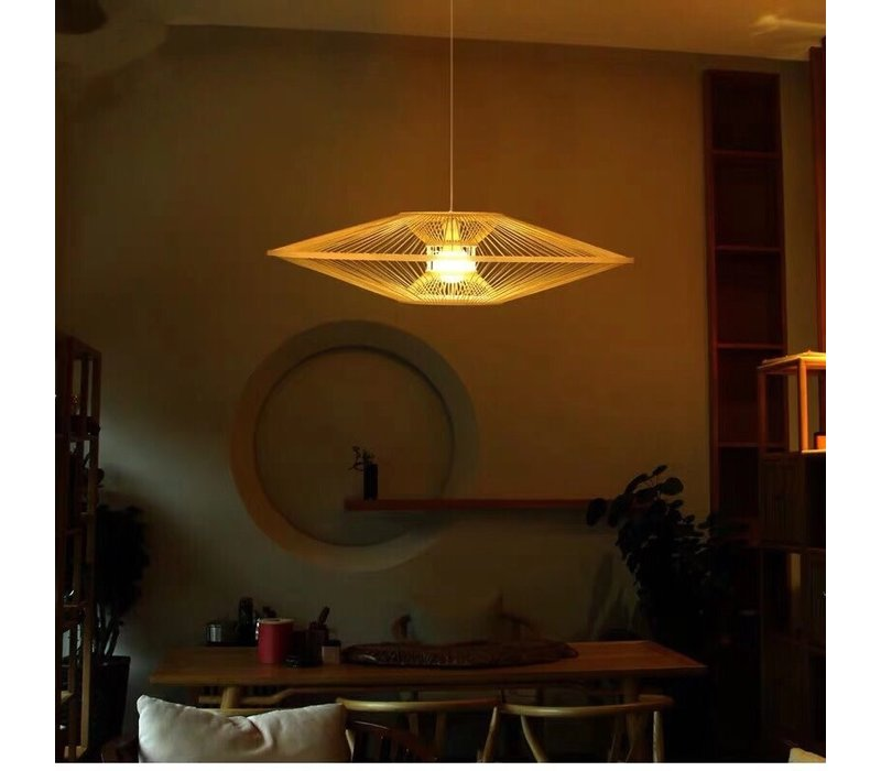 Fine Asianliving Deckenleuchte Bambus Lampe Handgefertigt - Stella D90cm