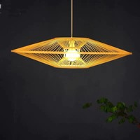 Bamboo Light Pendant Lampshade Handmade - Scarlet D60cm