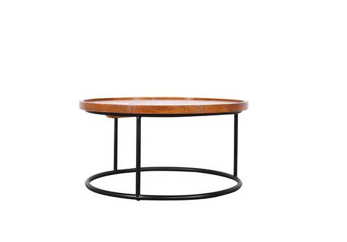 Fine Asianliving Chinesischer Couchtisch Rund Modern Holz und Stahl D80xH40cm