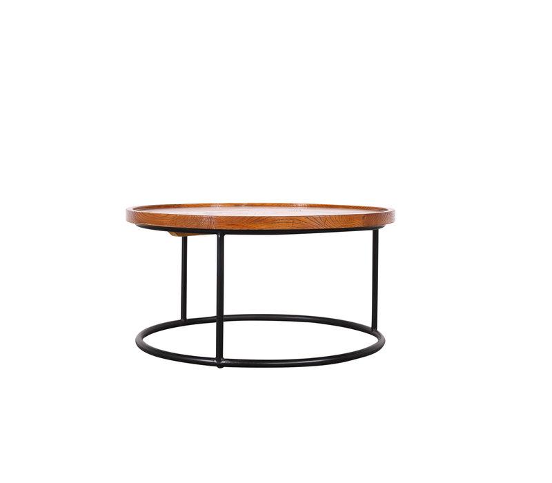 Chinesischer Couchtisch Rund Modern Holz und Stahl D80xH40cm