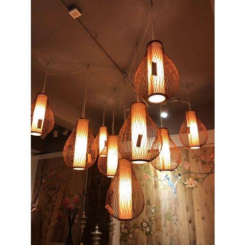 Ceiling Light Bamboo Lampshade Handmade - Amber