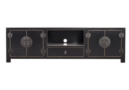Fine Asianliving Chinese TV Stand Handbraided Bamboo Black