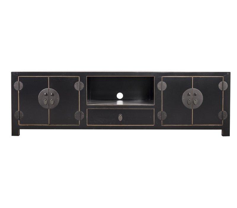 Chinese TV Stand Bench Handbraided Bamboo Black W190xD56xH56cm