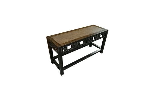 Fine Asianliving Chinese Elmwood Side Table Bamboo Surface