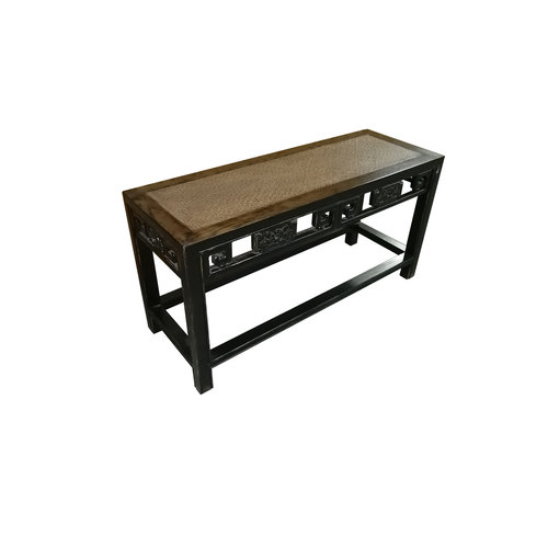 Chinese Elmwood Side Table Bamboo Surface