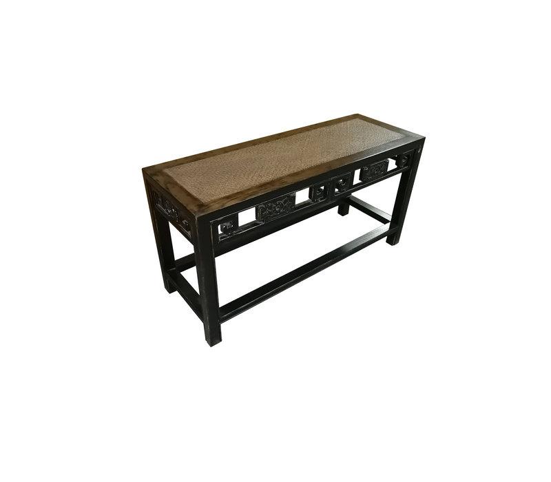 Chinesischer Konsolentisch Beistelltisch Ulmeholz und Bambus-Tischplatte