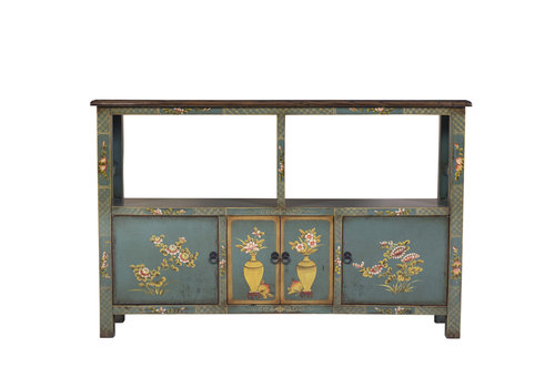 Fine Asianliving Chinese Elmwood Sideboard Hand Painted Mint