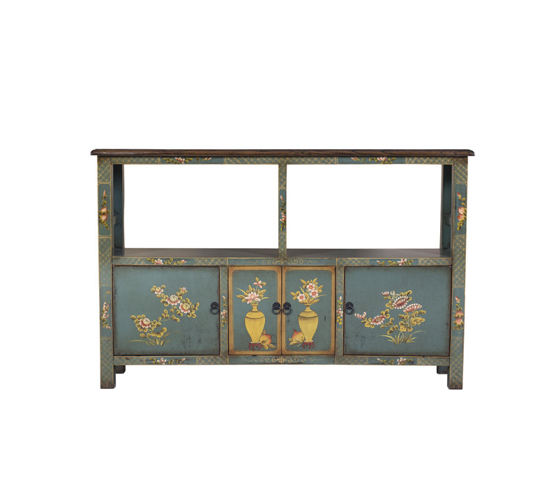 Chinese Elmwood Sideboard Hand Painted Mint