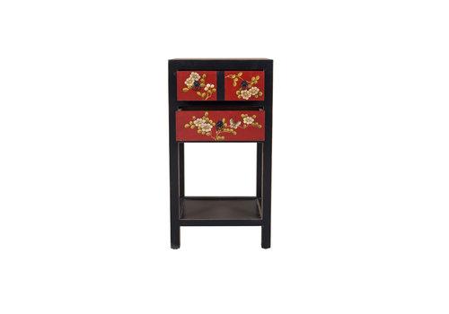 Fine Asianliving Table d'appoint chinoise motifs de fleurs peintes à la main noir