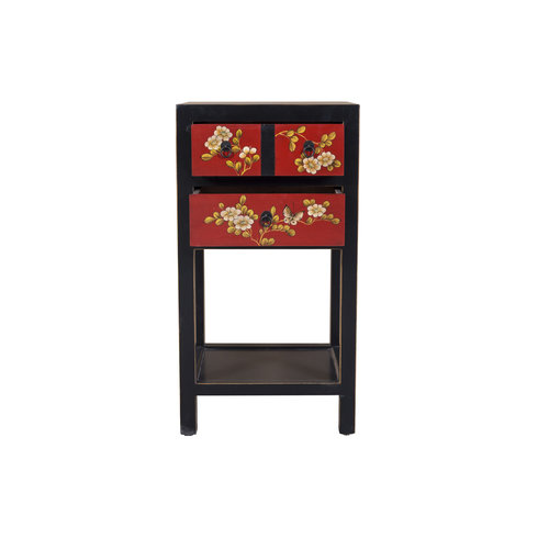 Chinese Side Table Hand Painted Flowers Patterns Black