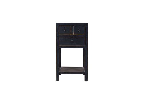 Fine Asianliving Chinese Side Table Hand Painted Black