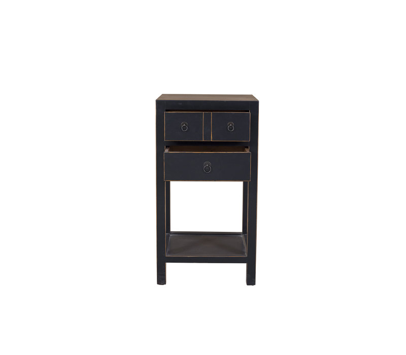 Chinese Side Table Hand Painted Black