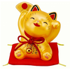 Fine Asianliving Cheerful Lucky Cat Happy Gold