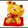 Fine Asianliving Fröhliche Winkekatze Glücklich Gold
