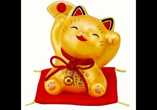 Fine Asianliving Chat Porte-Bonheur Heureux d'Or