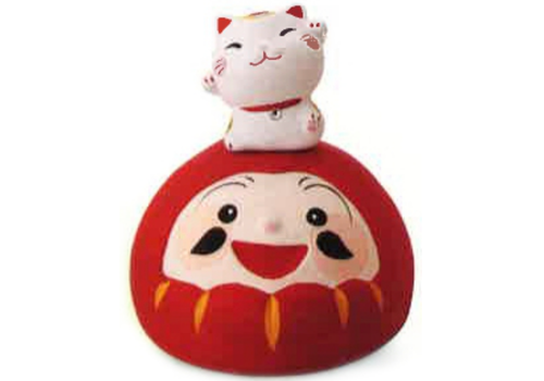 Fine Asianliving Lucky Cat Cheerful Lucky Daruma Handmade Japan