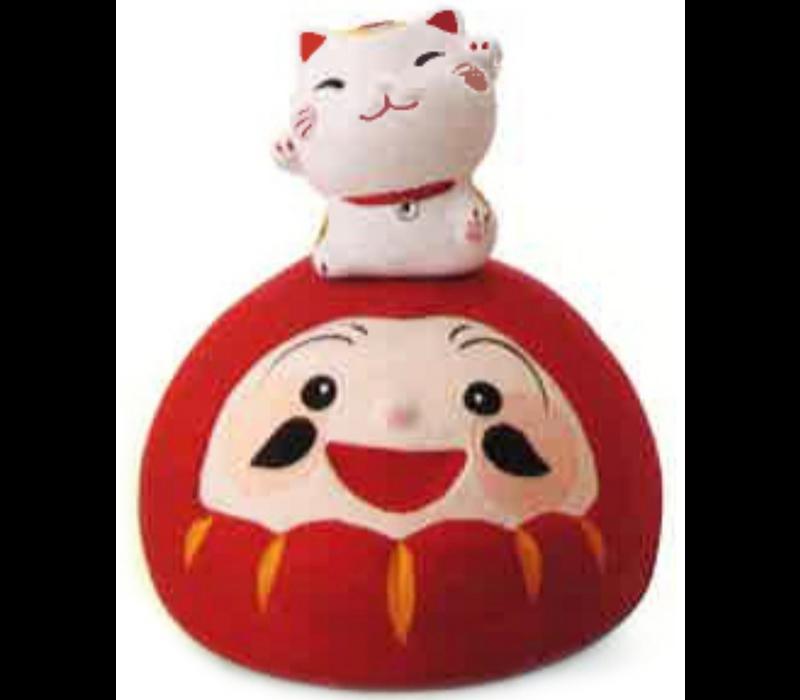 Lucky Cat Cheerful Lucky Daruma Handmade Japan