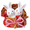 Fine Asianliving Lucky Bunny Couple in a Pocket - Handmade Japan