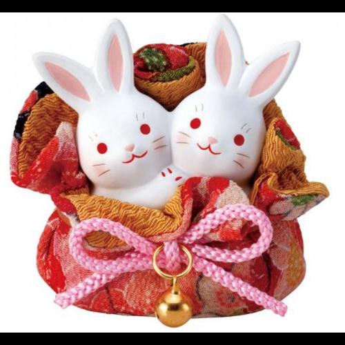 Lucky Bunny Couple in a Pocket - Handmade Japan