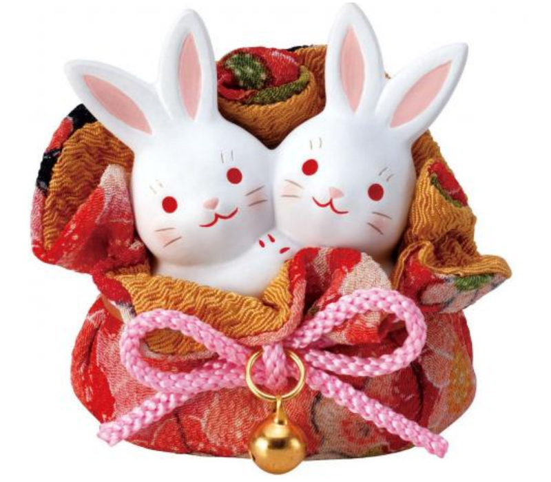 Glückliche Häschen Paare in einem Tasche - Handgefertigt in Japan