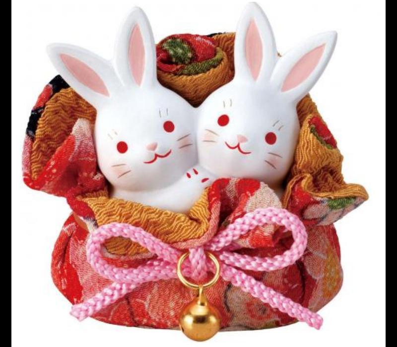 Lucky Bunny Koppel in een Zakje - Handgemaakt in Japan