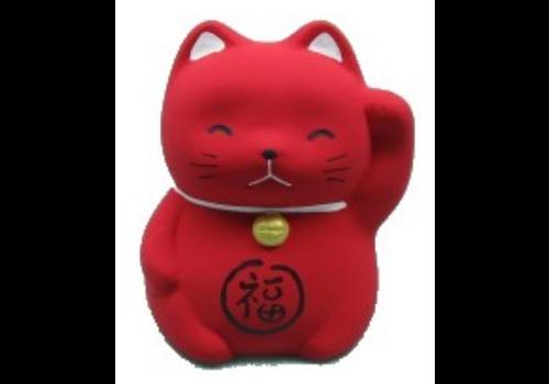 Fine Asianliving Chat Porte-Bonheur Maneki Neko Mini Rouge