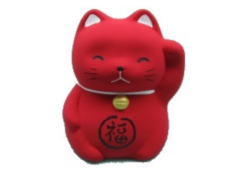 Fine Asianliving Lucky Cat Maneki Neko Mini Red