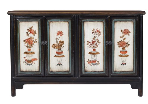 Fine Asianliving Antique Chinese Sideboard Hand Painted Flowers & Vases
