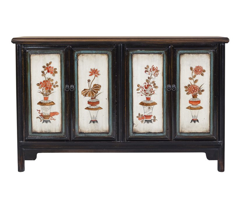Antique Chinese Sideboard Hand Painted Flowers & Vases