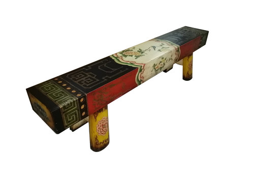 Fine Asianliving Chinese Solid Elmwood Bench Hand Painted Flowers Multicolour