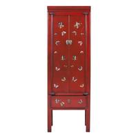 Chinese Kast Rood Handbeschilderd Vlinders