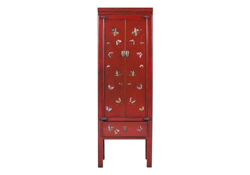 Fine Asianliving Chinese Cabinet Hand Painted Red Chinese Characters Designed