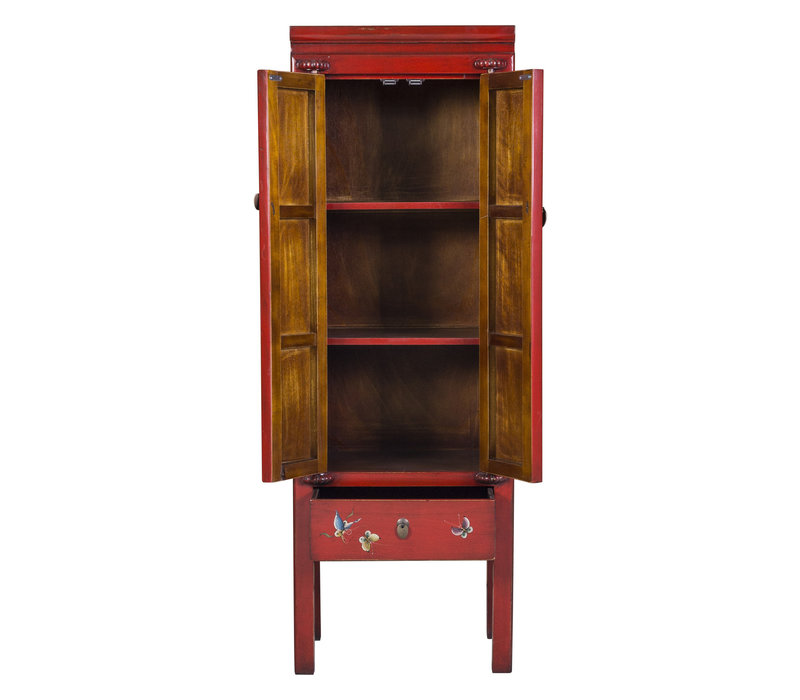 Chinese Cabinet Hand Painted Red Chinese Characters Designed
