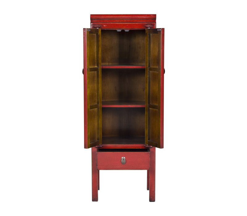 Antique Chinese Cabinet Set Hand Painted Red